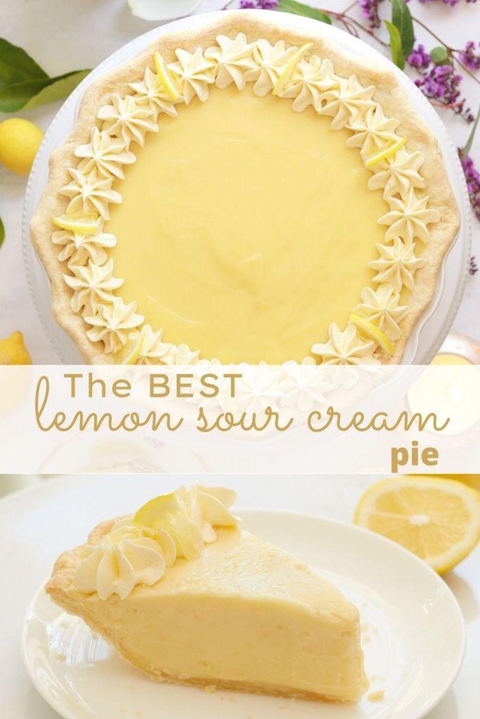 lemon sour cream pie recipe pin