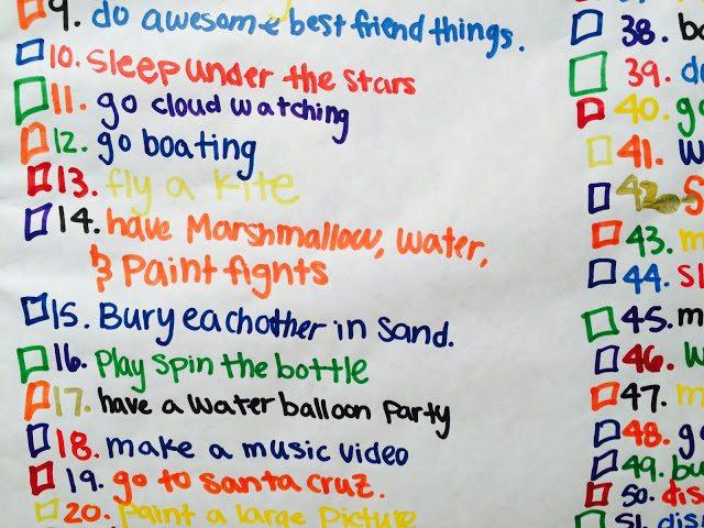 Bucket list for the summer