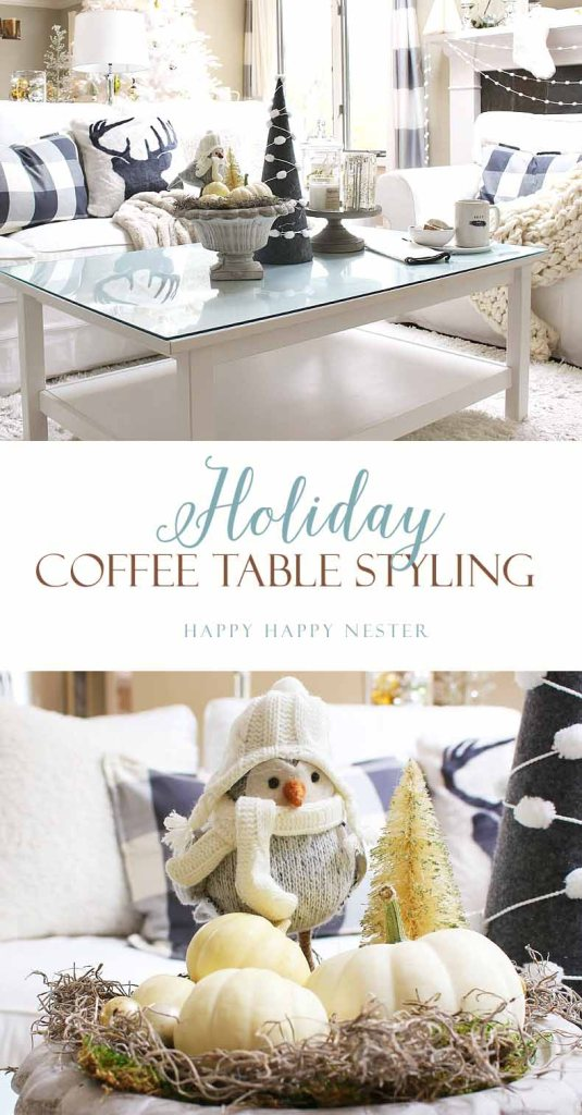 I hope my coffee table styling inspires you to tackle your coffee table this holiday! Keep it simple and festive with elements you already own.