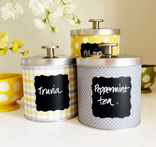 homemade diy tin can canisters