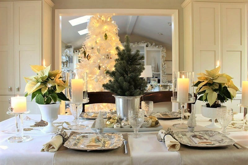 home-tour-dining-room-with white poinsettias