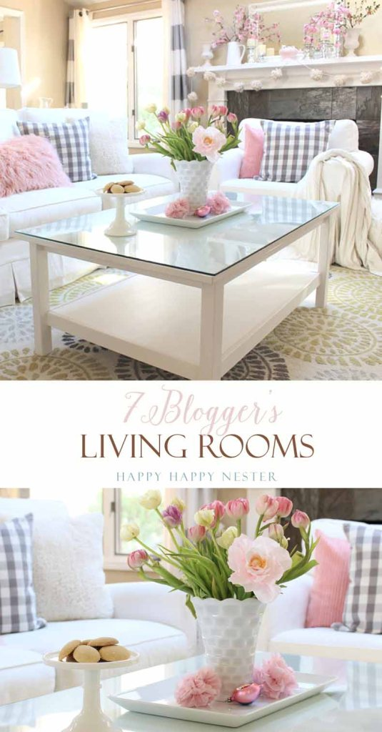 A new 2017 living room design for my home. I added touches of spring and Valentine's Day pink. I've teamed up with 7 bloggers and their great living rooms.