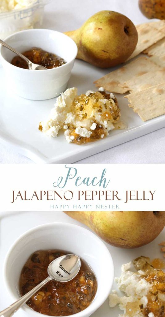 This Peach Jalapeno Pepper Jelly is a great combination of sweet and sour. It is the perfect appetizer paired with rustic crackers and European cream cheese.