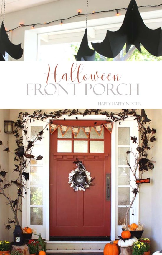 This post contains Halloween ideas for your Fall front porch that you can create. Paper wreaths, decorated branches, and paper bats are all easy crafts.