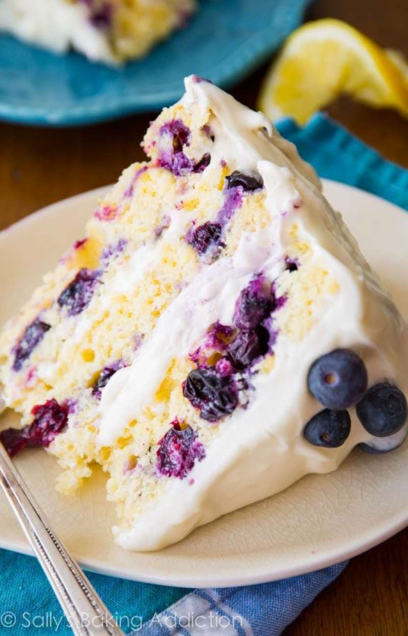 Lemon blueberry cake on plate