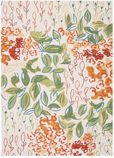 Floral orange and green rug
