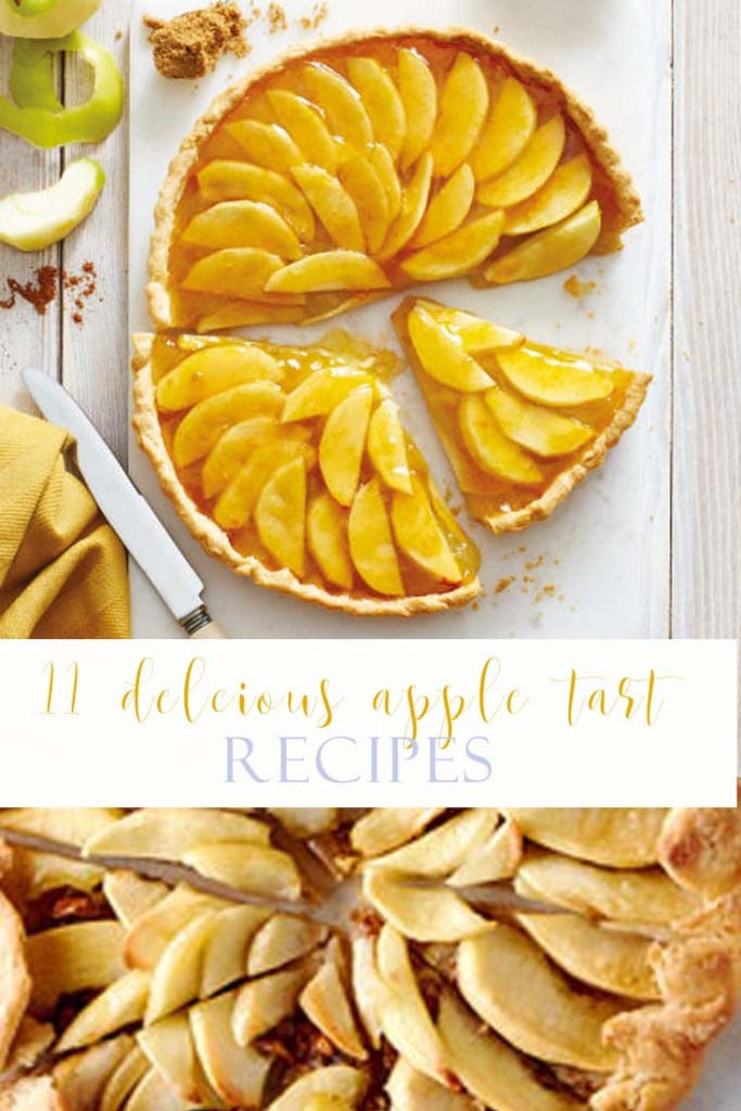 Image with 2 apple tarts and a title with words, apple tart recipes in the middle