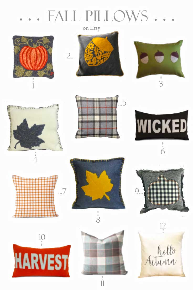 etsy fall pillows lined up on a graphic