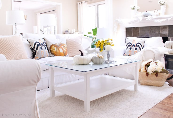 white living room with fall pillows