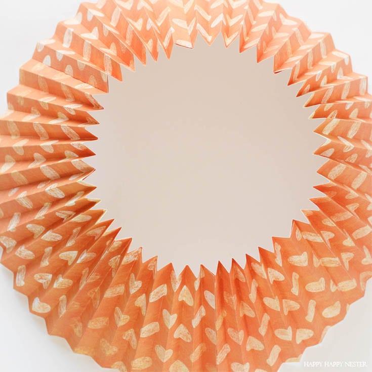 orange paper in a circle