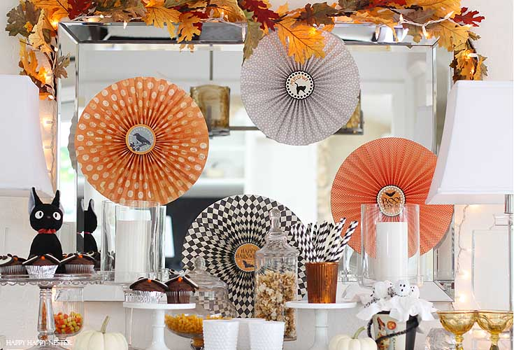 halloween vignette on a dining room buffet table