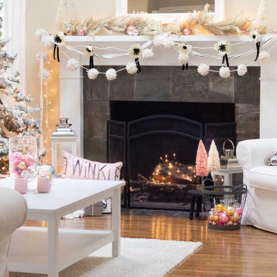 Black and White Cottage Christmas Mantel