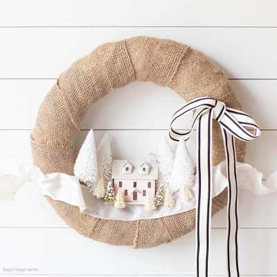 DIY Christmas Village Wreath
