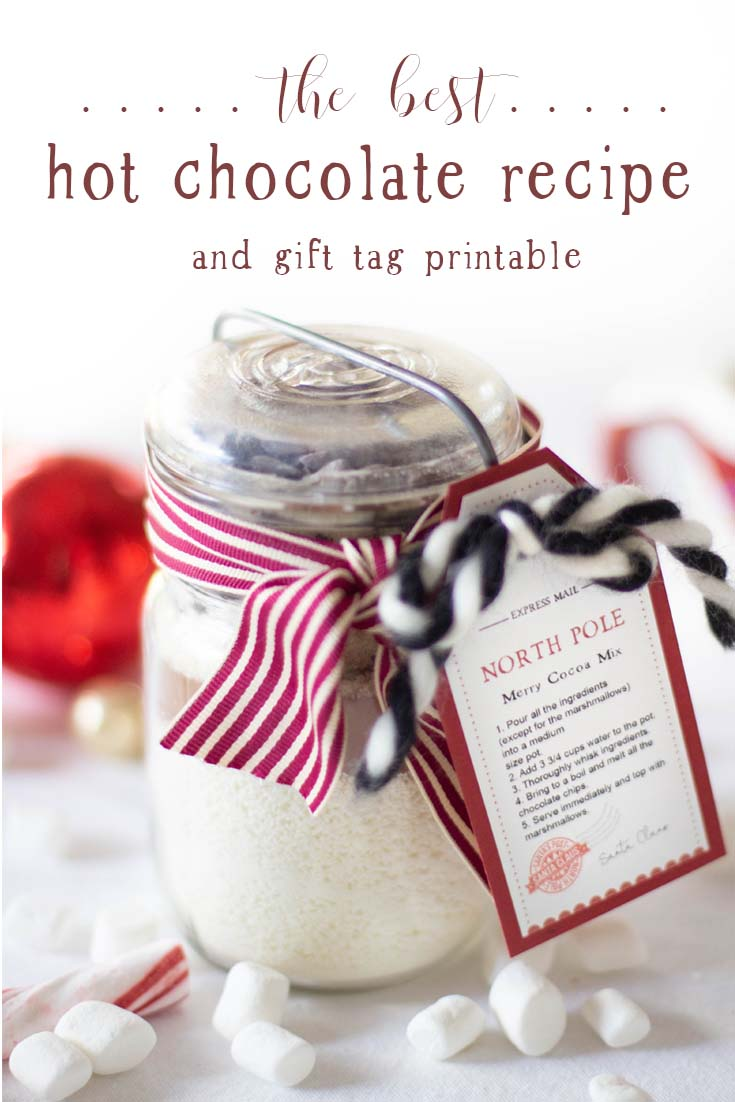 This Homemade Hot Chocolate Mix with a Gift Tag uses premium ingredients to make a gourmet drink. It is my best hot chocolate mix recipe and it is easy to make. Enjoy this instant hot chocolate recipe and have it on hand throughout the year. Homemade Hot Cocoa | Hot Chocolate Recipe | Hot Cocoa Recipe | Hot Chocolate Recipe With Powdered Milk | Gift Ideas For The Holidays | Holiday Gifts | The Best Hot Chocolate Recipe | Baking | Recipes