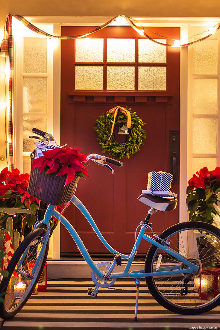 Welcome to an inspiring Christmas Home Night Tour. On the tour are my front porch, living room, and dining room. The tour includes twinkle lights, Christmas trees, holiday cookies, and even a decorated bike. The evening light makes everything sparkle and magical. Christmas Tour | Holidays | Christmas Decor | Christmas