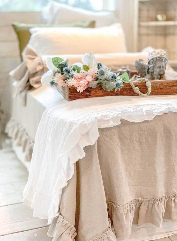 Shabby chic linens for a hygge home.