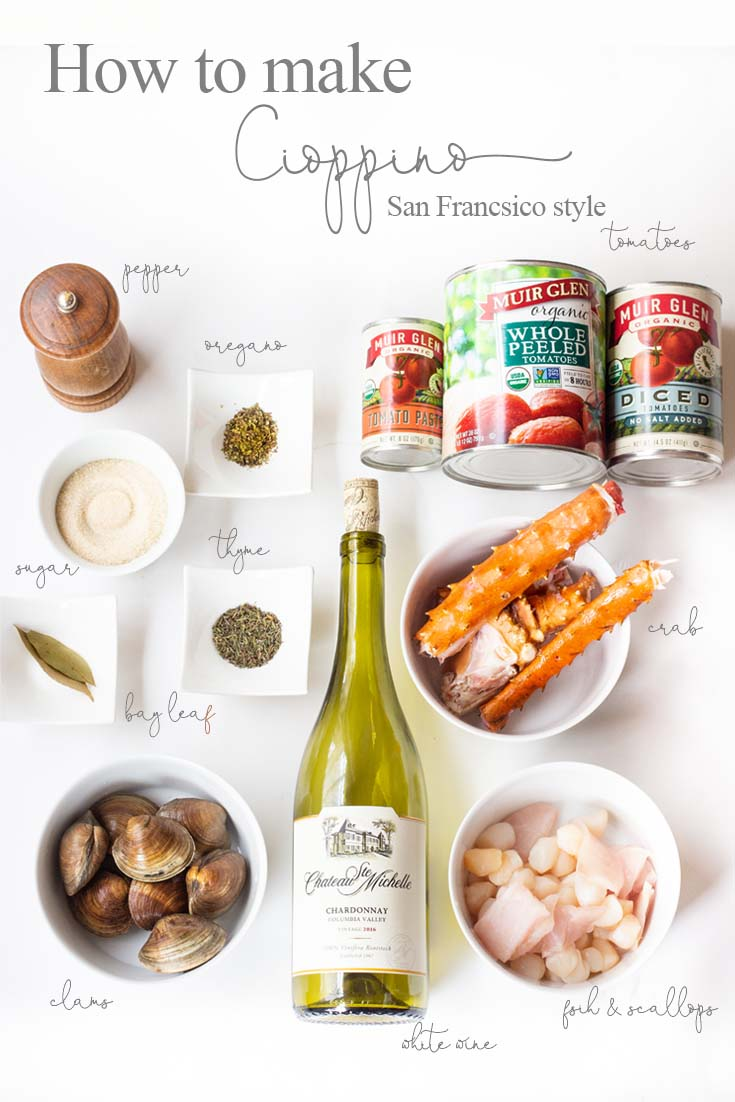 These are the simple ingredients that go into a San Francisco Cioppino. Our family favorite Yummy Seafood Stew Recipe is the best San Francisco style Cioppino. Make this the evening before so all the flavors are their best. This is the best Cioppino recipe since it includes wine and sugar to balance and mellow the acid from the tomatoes. #cioppino #italiandinner #soup #fishstew