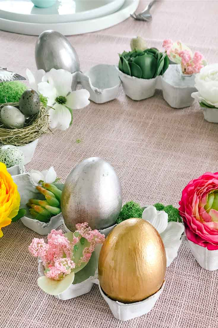 DIY Gilded Easter Eggs Carton Wreath.