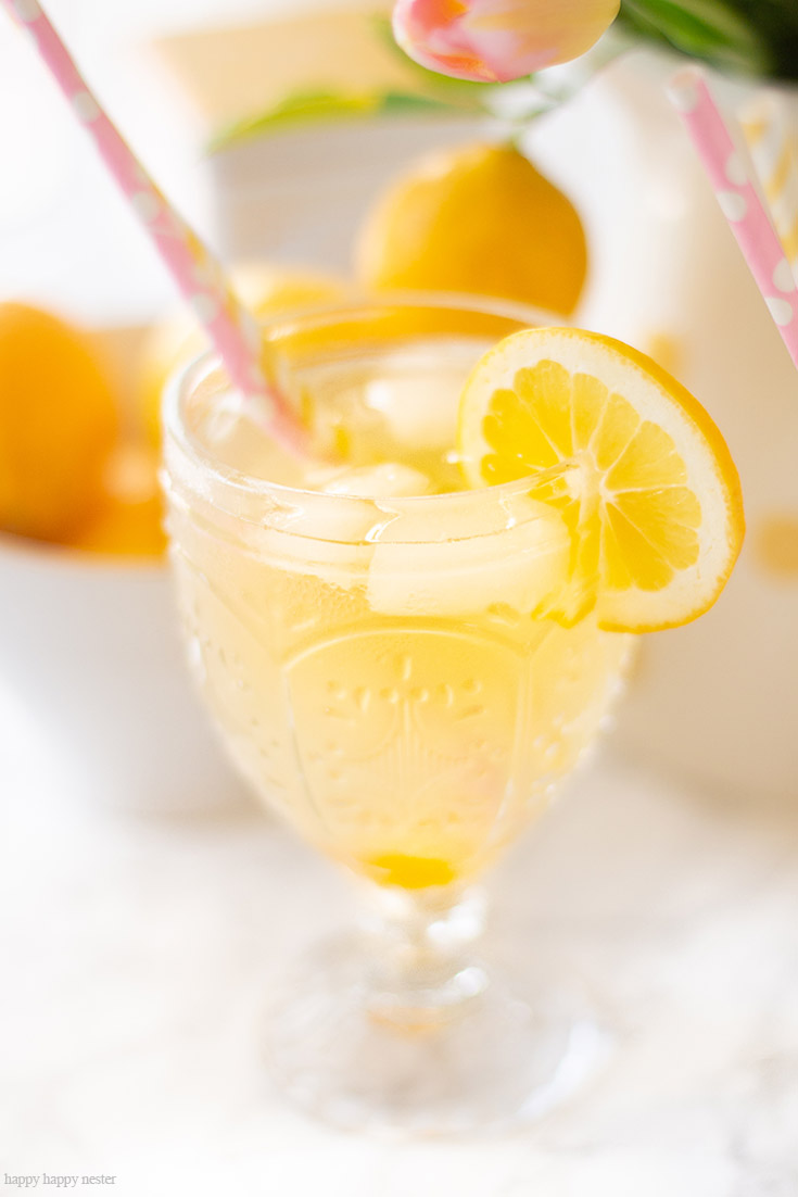 This is a yummy Carbonated Lemon Iced Tea Recipe that is a refreshing sparkling tea. Since I have a ton of Meyer lemons that is what I used, but you can use lemons for this recipe. This is a sweet tea with bubbly carbonation. #icetearecipe #icetea #sparklingdrinks #drinkrecipes #lemonrecipes #meyerlemons #sparklingteas