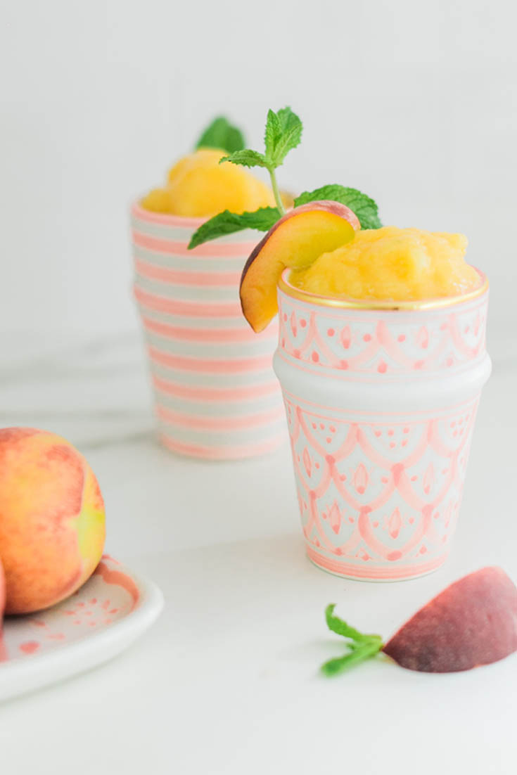 Peach Slush. Here are 10 Non-Alcohol Summer Drinks that you'll love. Need some recipes this summer, well, we have you covered if you need slushies, teas, fruit drinks and more. These bloggers have tested them, and these are their favorites. #drinks #summerdrinks #cocktail #drinkrecipes #recipes #happyhour #weddings #weddingdrinks