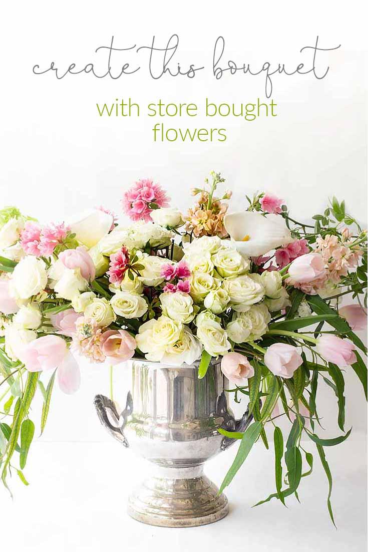 Here is an easy way to Create a Gorgeous Mother's Day Floral Bouquet used just three types of flowers and greenery. These flowers are all at your local grocery store. This flower tutorial explains all the things you need to do in five easy steps. #flowers #flowerarrangements #bouquet #flowervase #mothersdayflowers