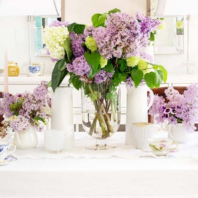Beautiful Spring Table with Fresh Flowers