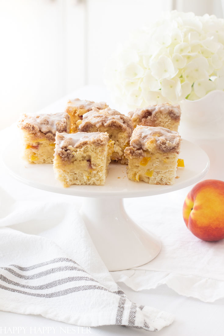 This Best Ever Peach Buckle Recipe is a little modification from my yummy blueberry buckle recipe. Enjoy the fresh summer peaches in this delicious dessert. #desserts #recipes #peaches #summerdesserts