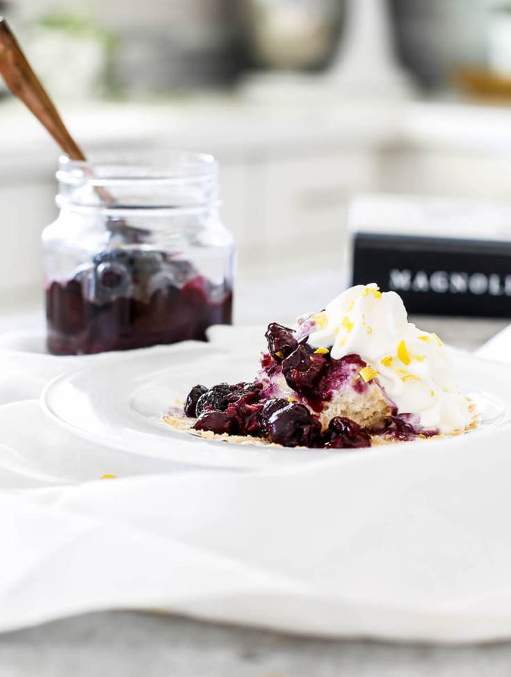 Lemon Angel Food Cupcakes with Fresh Blueberry Compote is inspired by Magnolia Table Cookbook. #recipes #fixerupper #blueberrydesserts #desserts