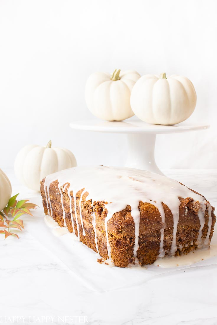 I absolutely love this Pumpkin Bread with a cinnamon, sugar and nut swirl in the middle and topped with icing. It is reminiscent of Starbuck's pumpkin bread but better.