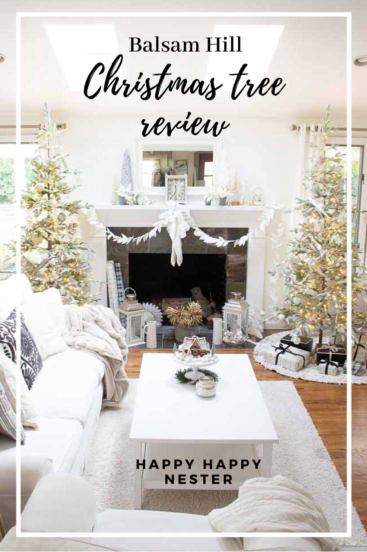 Looking for a realistic faux Christmas tree? This Balsam Hill Christmas Tree Review will help you decide about purchasing the Frosted Alpine Balsam Fir. This post reviews the branches, needles, lights, and ease of putting it together. It is a big investment so take the time to do your research. #balsamhill #balsamhilltrees #fauxtrees