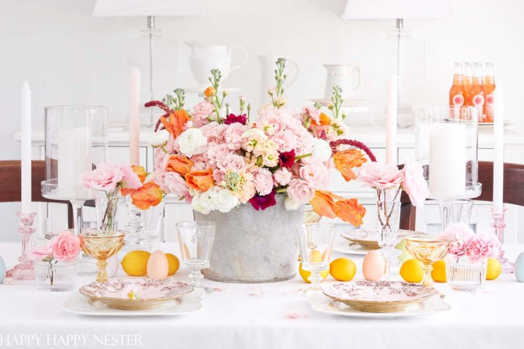 spring table with beautiful flowers