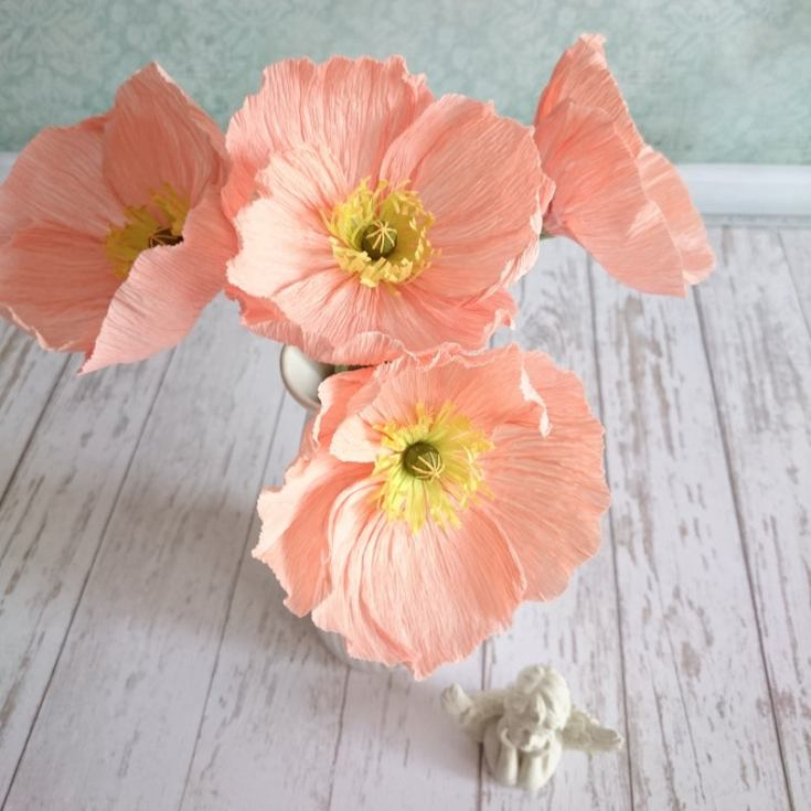 These peach colored poppies are such beautiful paper flowers that you can buy on Etsy.