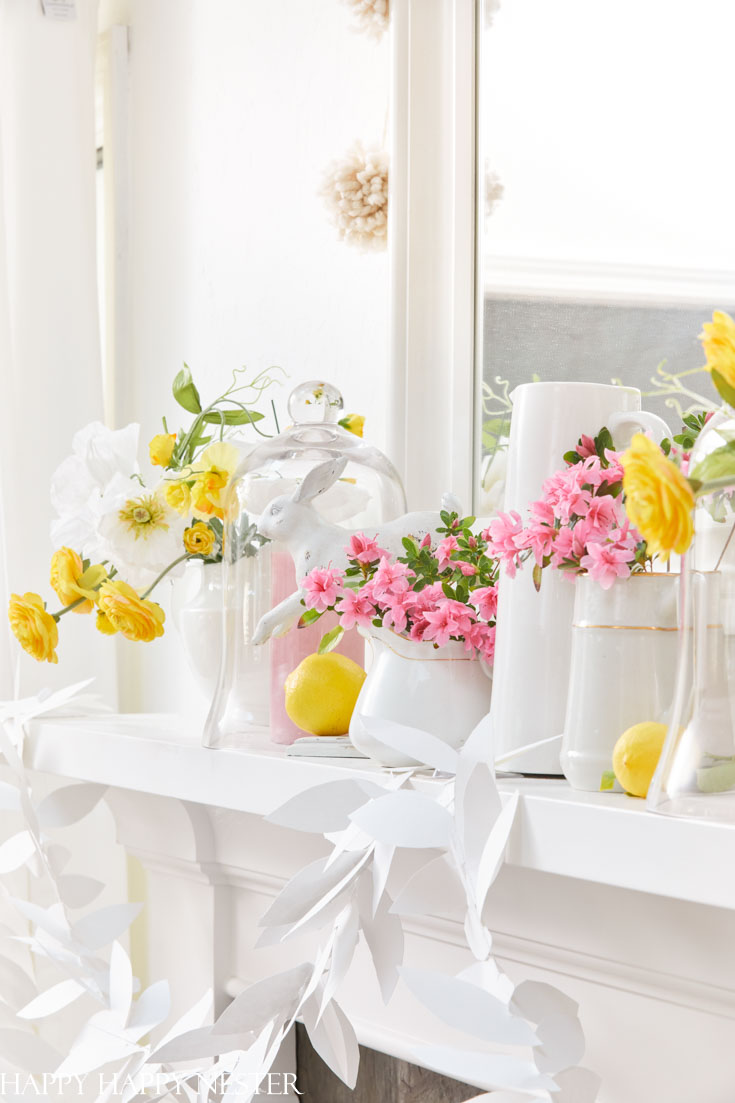 Spring Home Tour With Flowers on a mantel