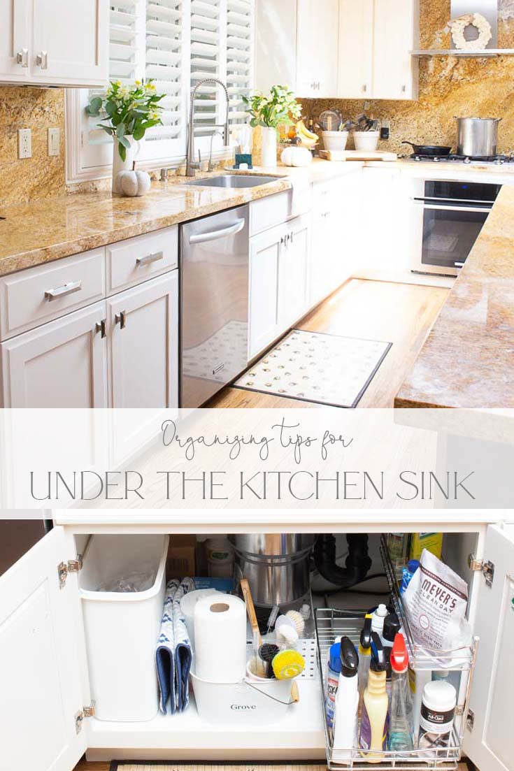 organizing tips for under the kitchen sink pin