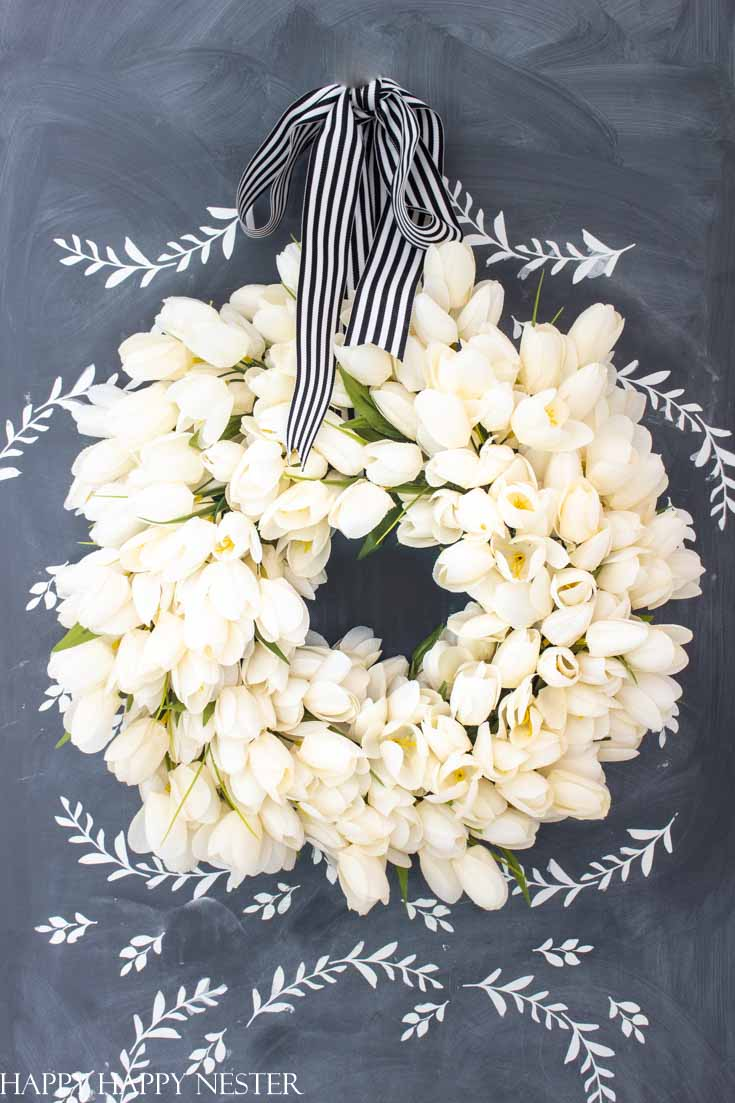 beautiful white tulip wreath diy