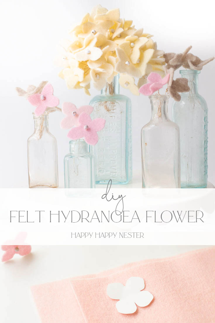 diy felt hydrangea flower tutorial pin