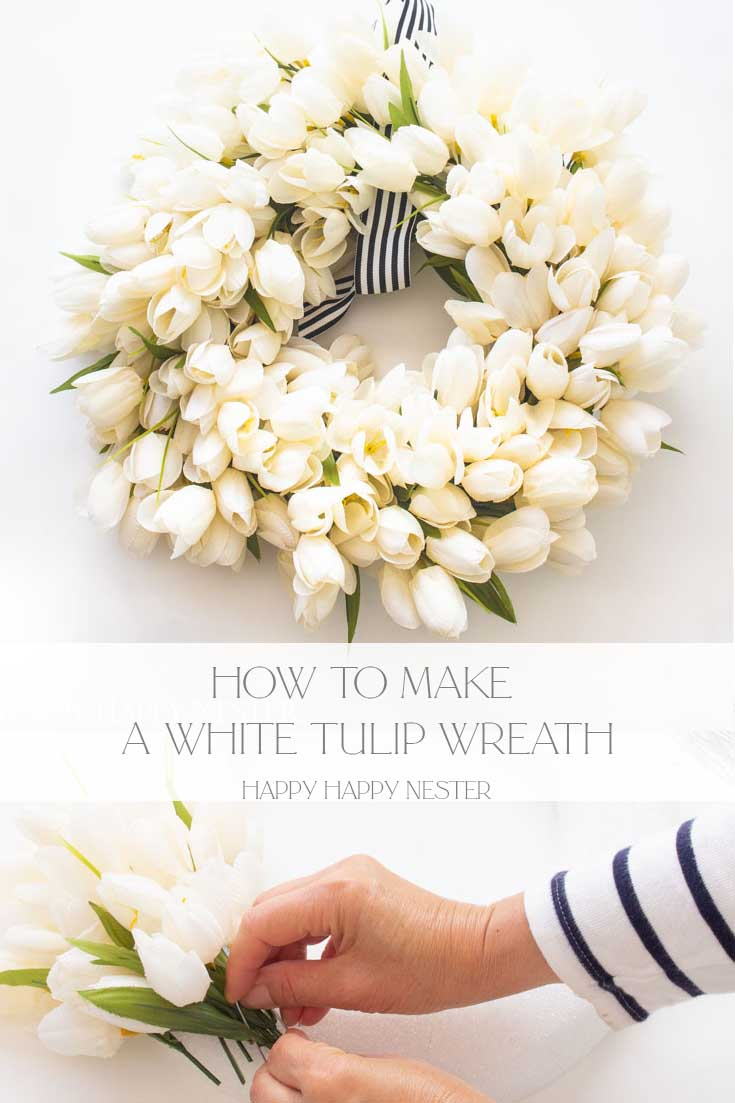 how to make a white tulip wreath pin