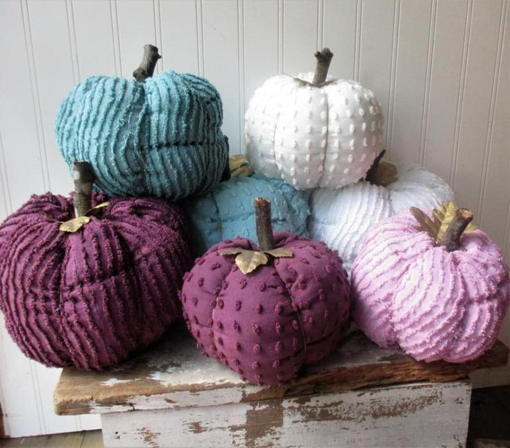 purple chenille pumpkins