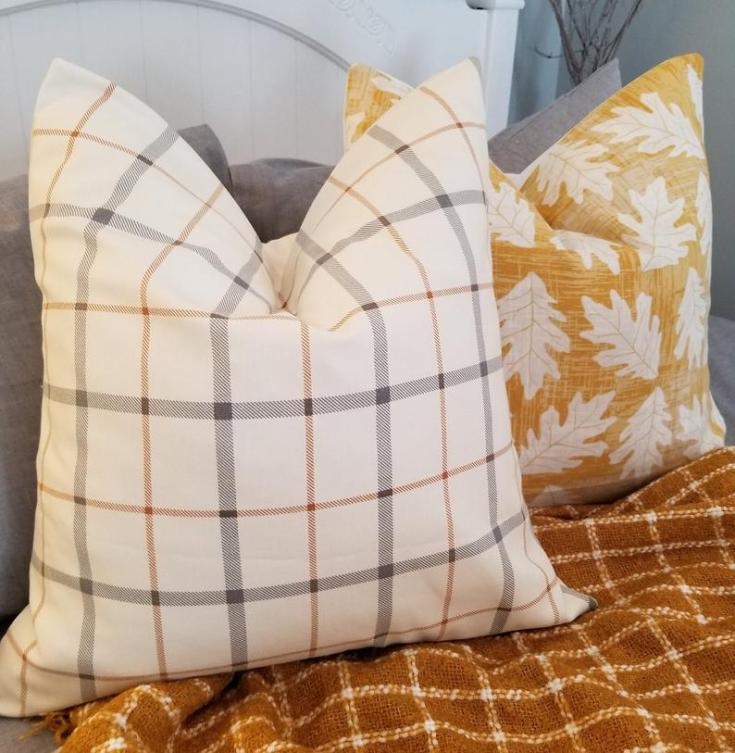 light plaid striped pillow