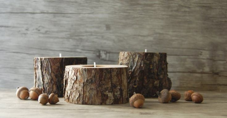 cool candles holders made of wood stumps