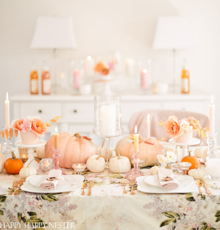 Elegant Thanksgiving Table with Pink Pumpkins