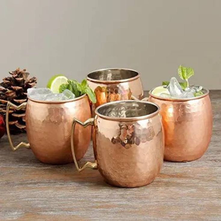 set of four lined moscow mule mugs