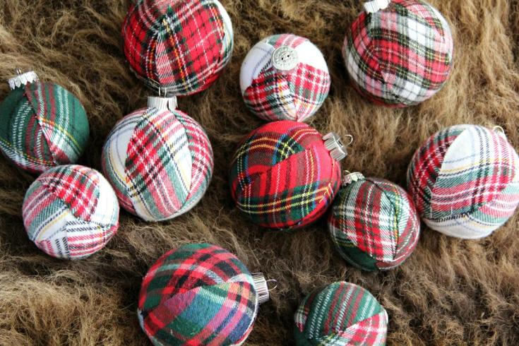 shopping for christmas decorations and pretty plaid ornaments
