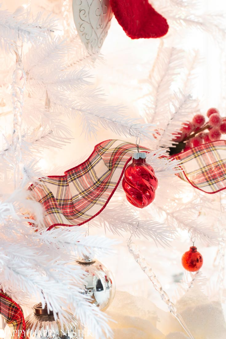 red and white Christmas tree tartan ribbon