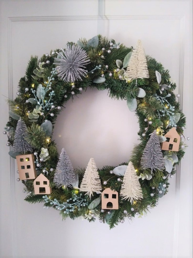 snowy village christmas wreath