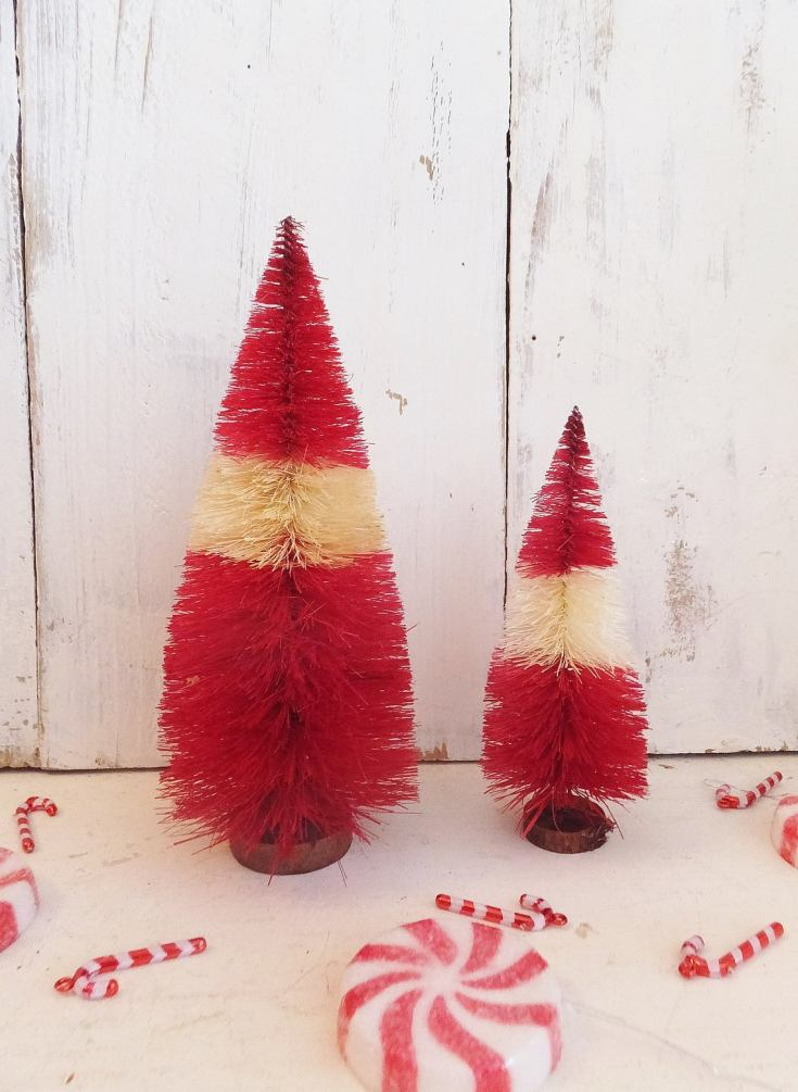 candy cane bottle brush trees