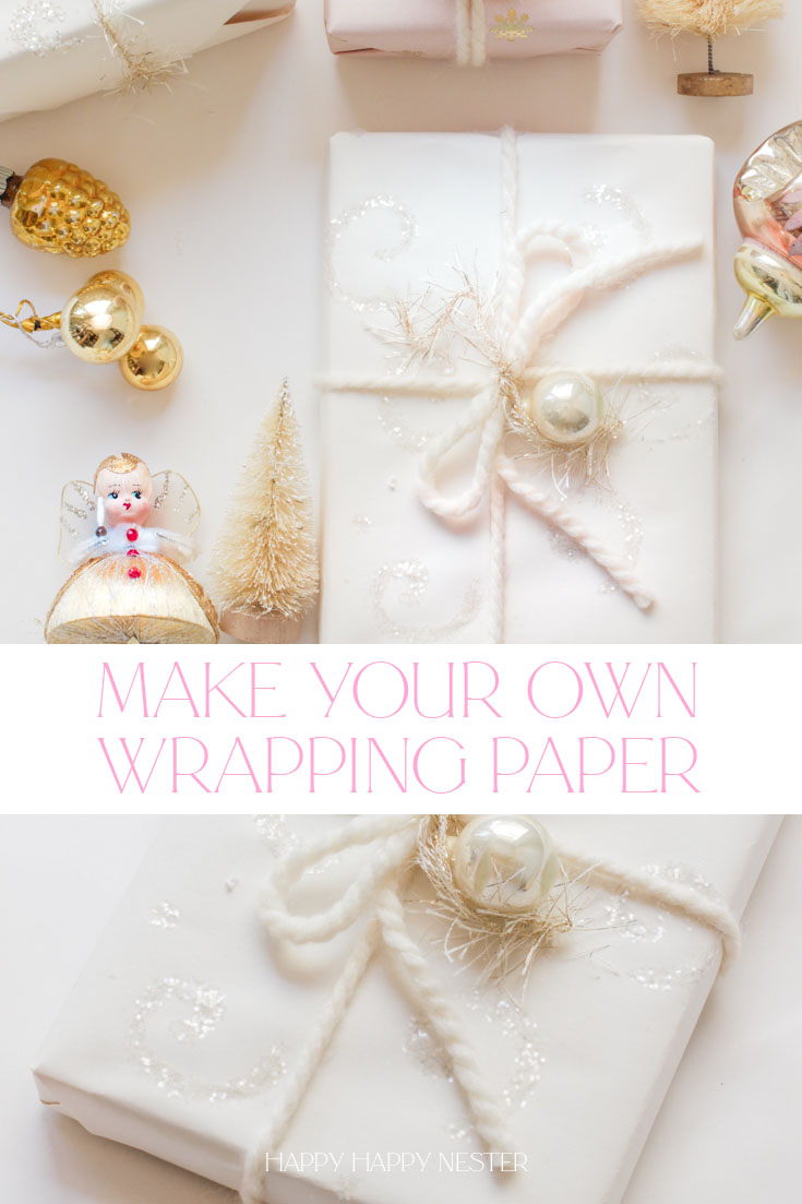 Make your own wrapping paper this year. This pretty glittery paper is such a quick project and only takes a couple of minutes to make. And even your kids can make this fun gift wrapping paper. It's that easy. And by the way, there are a few important tips about glue and glitter that are key to creating a successful paper. Trust me. I did a bit of testing. Personalize your paper and have fun with this crafty project.