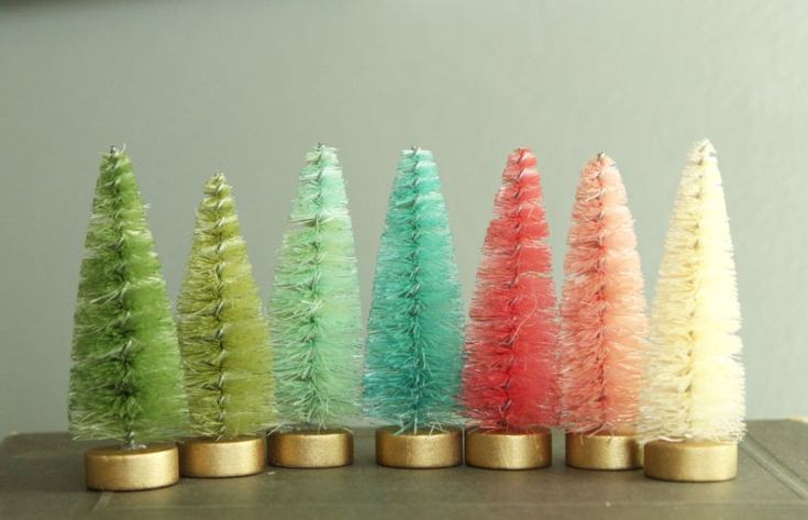 pastel dyed bottle brush trees