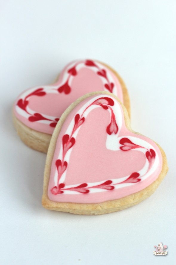 decorating cookies for Valentine's Day