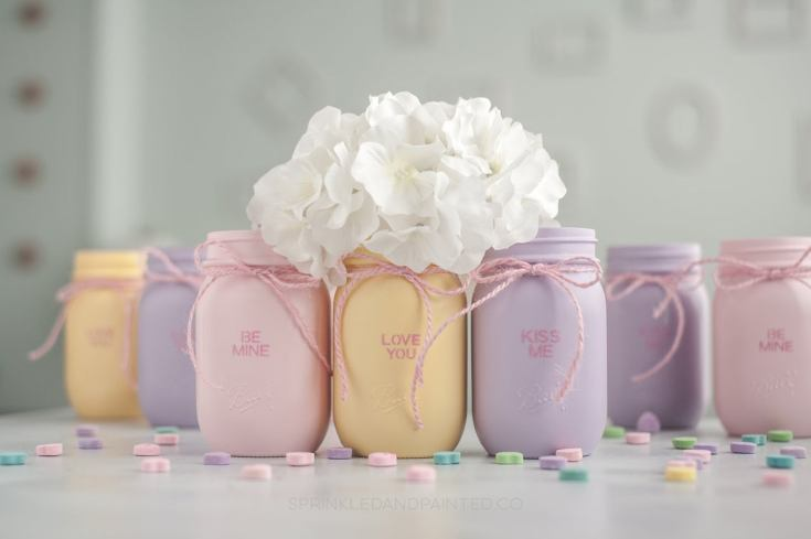 Valentine's Day Decorations mason jar vases